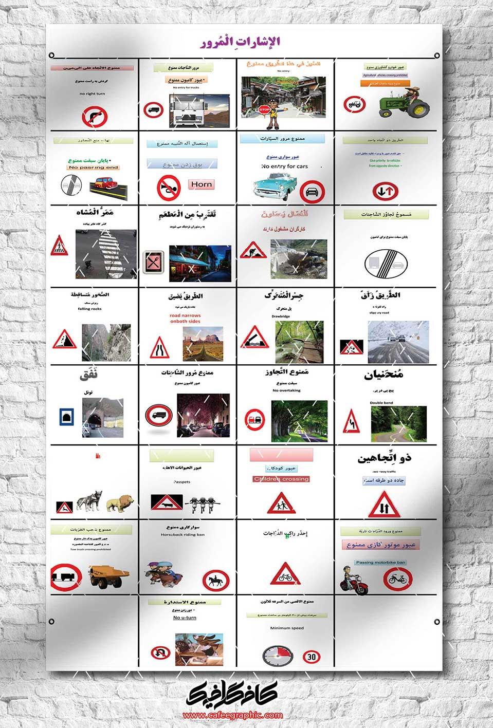 طرح لایه باز پوستر آموزشی قواعد راهنمای رانندگی به عربی