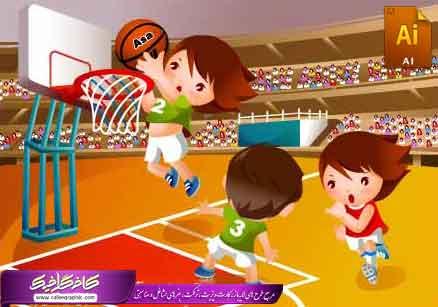 کارکتر و شخصیت کارتونی کودک و بسکتبال در فرمت Ai و eps
