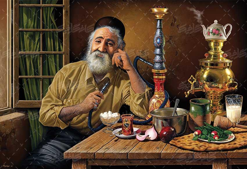 "<span itemprop=""name"">تصویر استوک پیرمرد با قیلون برای کافه سنتی</span>"