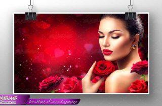 تصویر بانوی زیبا با گل رز قرمز،پوستر بانوی زیبا با رز قرمز