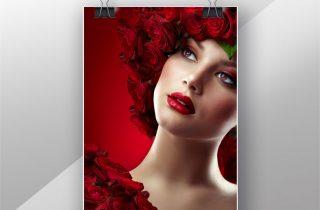 تصویر با کیفیت بانوی گل رز قرمز با کیفیت،پوستر زن با گل رز های قرمز،بانوی با گل رز قرمز ،عکس با کیفیت بانو و گل رز قرمز