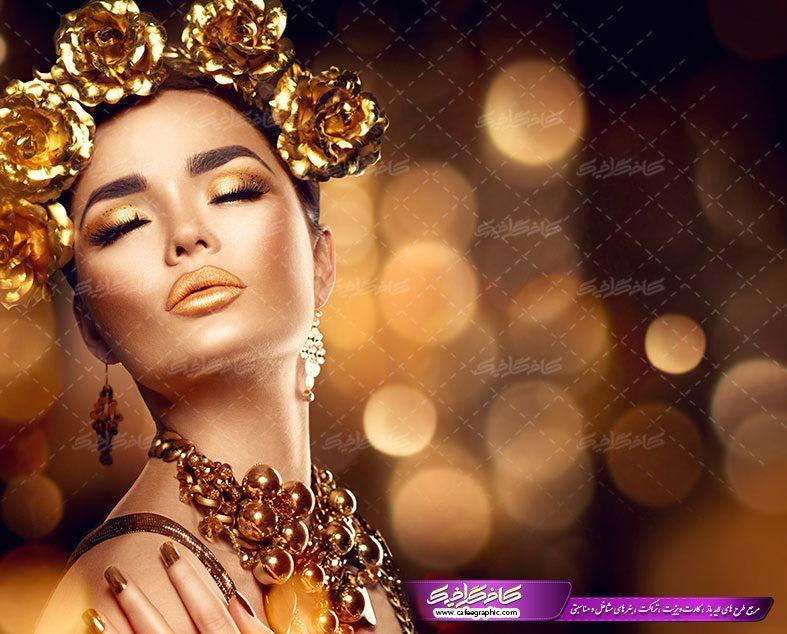 پوستر بانو با گل رز طلایی