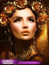 نمونه پوستر با کیفیت بانو با تاج گل رز طلایی ویژه دکور آرایشگاه زنانه