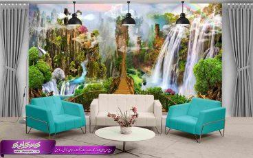 پوستر دیواری آبشار و پل چوبی ،تصویر باکیفیت پل چوبی و آبشار