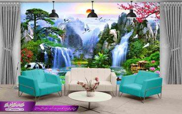 پوستر دیواری منظره تابستان و آبشار ،عکس با کیفیت از منظره طبیعت و آبشار
